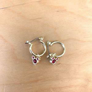 Disney Mickey garnet hoop earrings